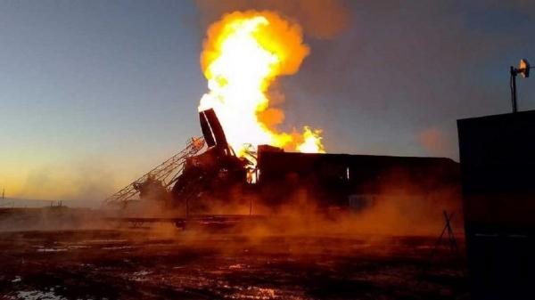 آتش سوزی در یکی از میادین نفتی جنوب غربی روسیه