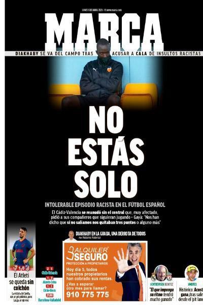 فریاد روزنامه مشهور اسپانیایی از نژادپرستی (عکس)